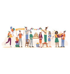 birthday party friends with cake and balloons vector image