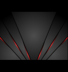 black abstract corporate background with red neon vector image