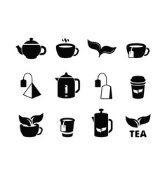 Black tea icons brewing herbal hot drinks iced vector