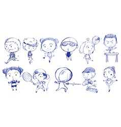 Blue doodle design of people playing with the vector image