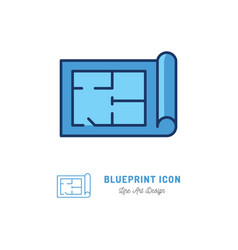 blueprint icon building plan outline vector image