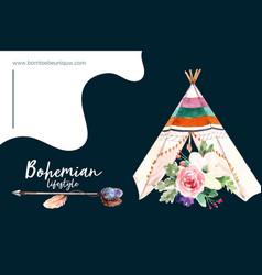 Bohemian frame design with flower tent arrow vector
