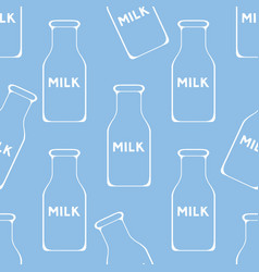 Bottle of milk seamless background vector