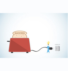 Businessman putting plug of toaster vector