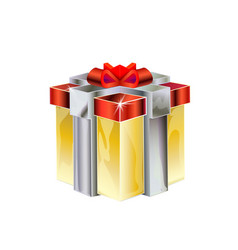 cartoon 3d isometric model of the gift with red vector image
