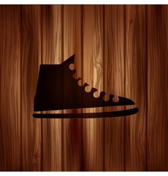 Casual keds gym shoes iconWooden background vector
