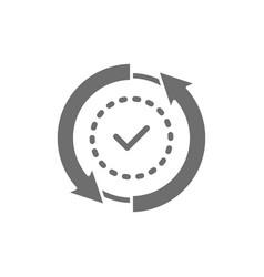 check mark verified checklist button tick grey vector image