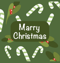 christmas and new year on green background holly vector image