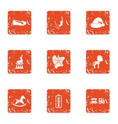 christmastime icons set grunge style vector image