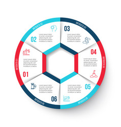 Circle infographic with 6 options vector