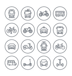 City transport icons set on white vector
