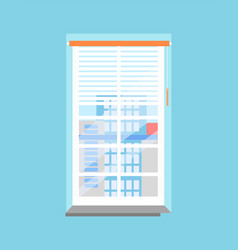 Clean office window with jalousies and windowsill vector