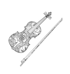 Coloring Page With Ornamental Violin And Vector