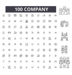 company editable line icons 100 set vector image