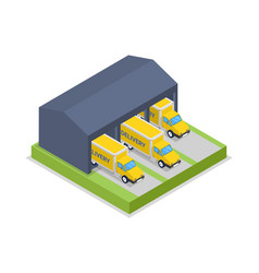 delivery trucks in warehouse hanger isometric icon vector image