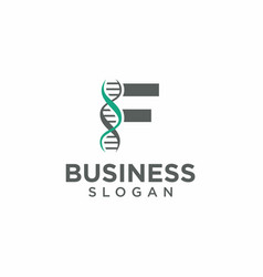Dna helix with letter f logo template vector