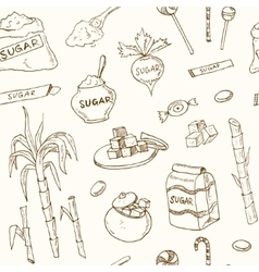 Doodle seamless pattern sugar products vector