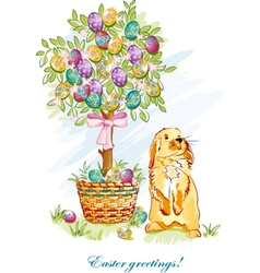 Easter card with rabbit and basket vector image