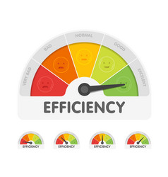 efficiency meter with different emotions vector image