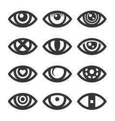 eye icon set on white background vector image