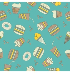 Fast food stickers icons seamless pattern vector image