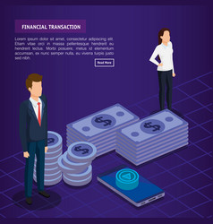 Finacial transaction with business people vector