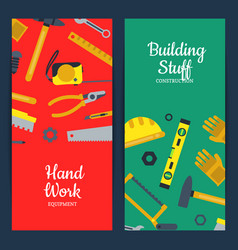 flat construction tools web banner vector image