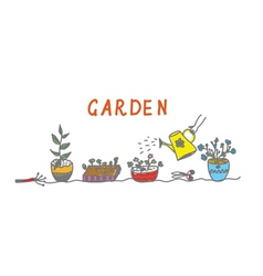 Gardening banner with flowers and instruments vector image