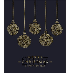 Gold Christmas and new year ornamental baubles vector image