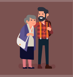 grandmother and his adult grandson vector image
