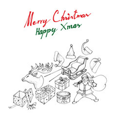 hand drawn of santa claus with sleigh and gifts vector image