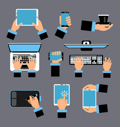 Hands holding different computer devices laptop vector