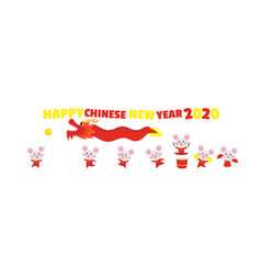 happy chinese new year card with cute rat vector image