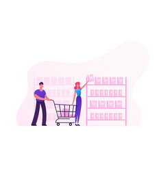 Happy couple making purchases in store woman vector