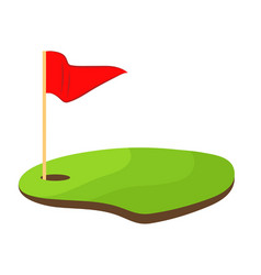hole golf with red flag stock design vector image