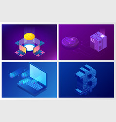 isometric bitcoin mining concept cryptocurrency vector image