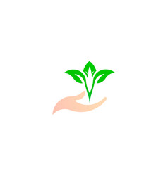 leaf on the hand green natural logo vector image