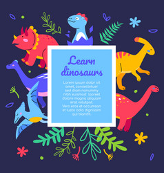Learn dinosaurs - flat design style web banner vector