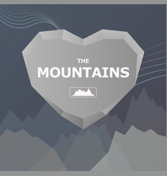 Logo for company heart and stone mountains vector