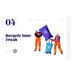 Man collector cleaning trash from rubbish bin vector