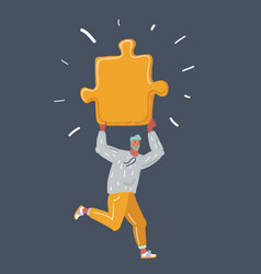man holding up a jigsaw puzzle piece vector image