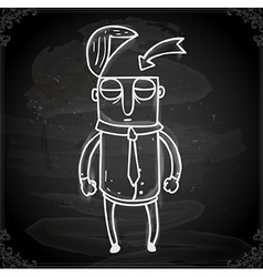 Man with an Open Head Drawing on Chalk Board vector