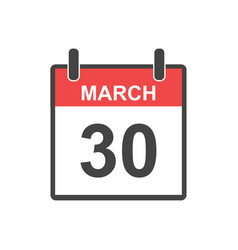 March 30 calendar icon holiday doctors day in vector