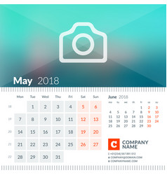 May 2018 calendar for 2018 year week starts on vector