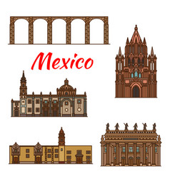 mexico landmarks architecture line icons vector image