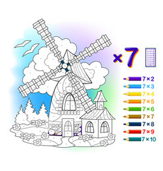 multiplication table 7 for kids math education vector image