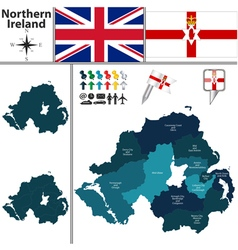 Northern Ireland map with regions vector