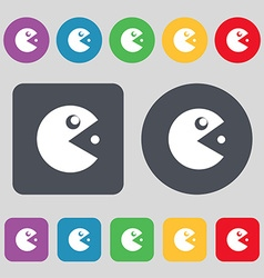 Pac man icon sign A set of 12 colored buttons Flat vector