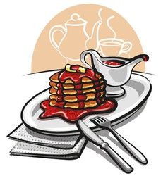 pancakes with syrup vector image vector image