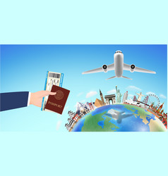 passport boarding pass with world travel landmark vector image